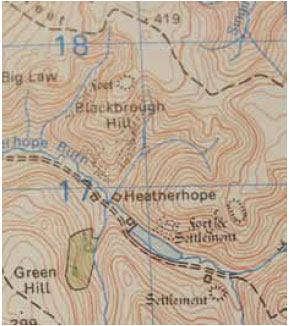 Fig. B3.7 The contours on the map show a number of spurs on the landscape formed between re-entrants