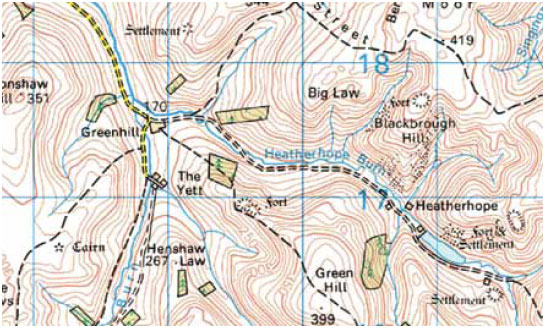 Fig. B3.8 An example of how valleys are shown on a map