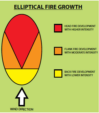 Fig. B5.5 Elliptical fire development where the fire burns with different intensities around its perimeter, depending on its alignment with wind