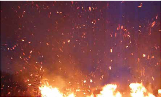 Photo B5.6 Showing hot sparks and embers that could lead to spot fires