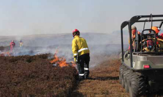 Photo B8.14 A joint FRS and land management parallel attack being carried out to remove fuel from the flanks of the fire