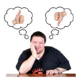 Man with two thought bubbles above his head with a thumb up and a thumb down