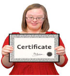 Teenager holding up a certificate