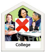 Photo of professional people with a red cross in front and the word College at the bottom