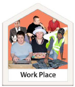 Photo of people with learning disabilities and the words Work Place at the bottom