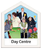 Photo of people with complex needs and the words Day Centre below it