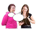 Two women smiling with empty speech bubbles
