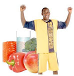Man with examples of healthy food