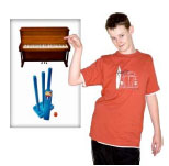 Boy pointing to a poster with a piano and cricket stumps on it