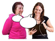 2 women with speech bubbles