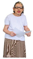 Elderly women standing with sheet of paper