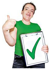 Man holding a clipboard with a green tick on it
