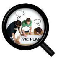 Magnifying glass with people looking at a plan