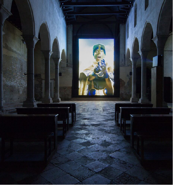 Installation view, Rachel Maclean, Spite Your Face, 2017. Courtesy Scotland + Venice. Commissioned by Alchemy Film & Arts in partnership with Talbot Rice Gallery and the University of Edinburgh Credit: Photographer – Patrick Rafferty