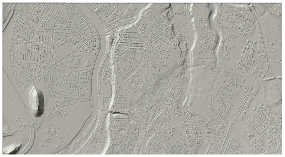 Figure A1 - Representation of the ground is a key component of surface water flood modelling. The example above is a Digital Terrain Model (DTM) produced from LiDAR data with buildings represented.