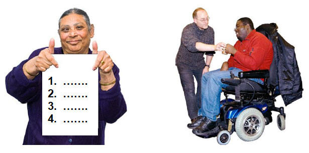 Women holding a sign and a man in a wheelchair