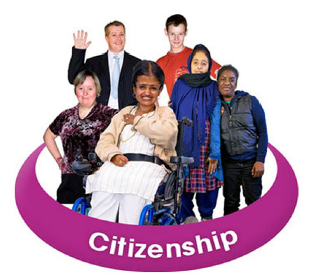 A group of people surrounded by a purple circle saying Citizenship