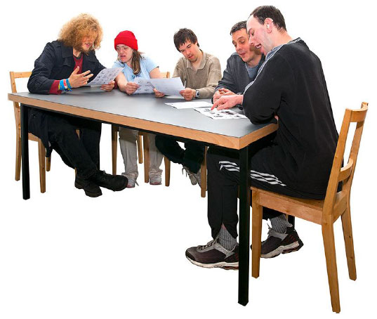 People sitting round a table