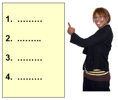 Women pointing to a list