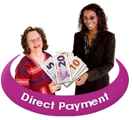 Two women surrounded by a purple circle saying Direct Payment
