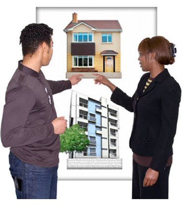 Man and a women pointing at a picture of a house