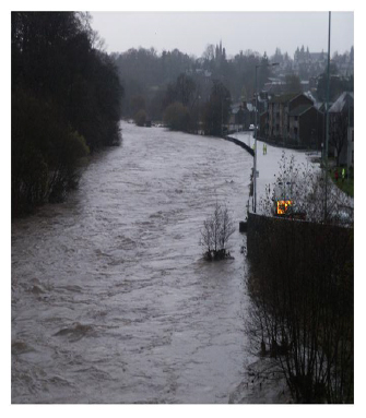 Flooding on the River South Esk and River Street, Brechin