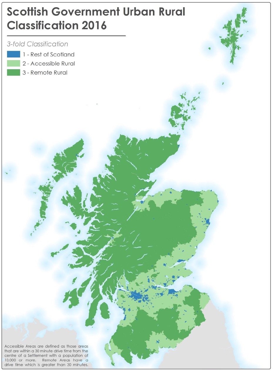 Map 2.2: Scottish Government 3-fold Urban Rural Classification 2016