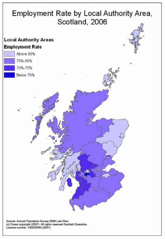 image of Figure 1: Working age employment rates by local authority area