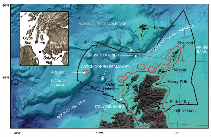 Figure 2.1 Bathymetry, specific boundaries and selected geographical features of the seas around Scotland