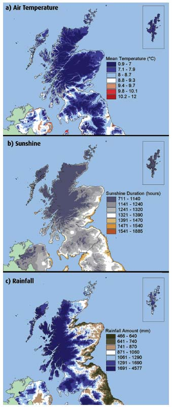 Figure 2.3 Annual average (1971-2000) meteorological conditions for Scotland
