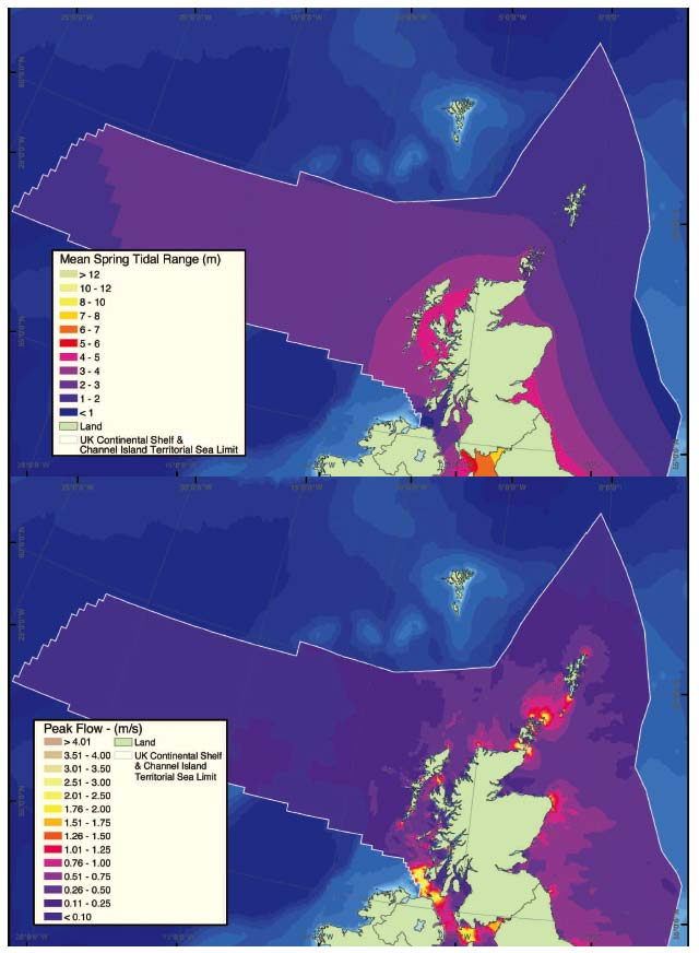 Figure 2.5 Mean spring tidal range (m) and peak current flow (m/s) for a mean spring tide for the seas around Scotland