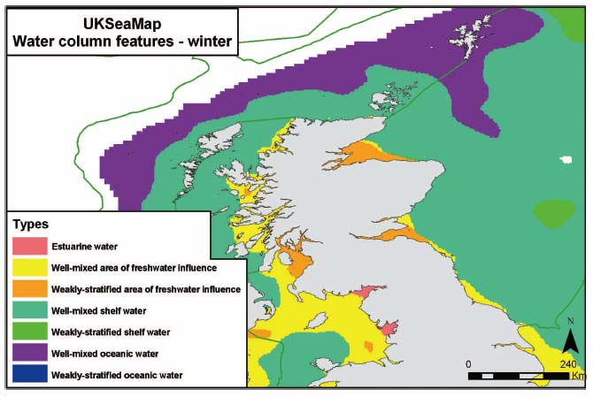 Figure 2.6 Water column features on the Scottish continental shelf in winter