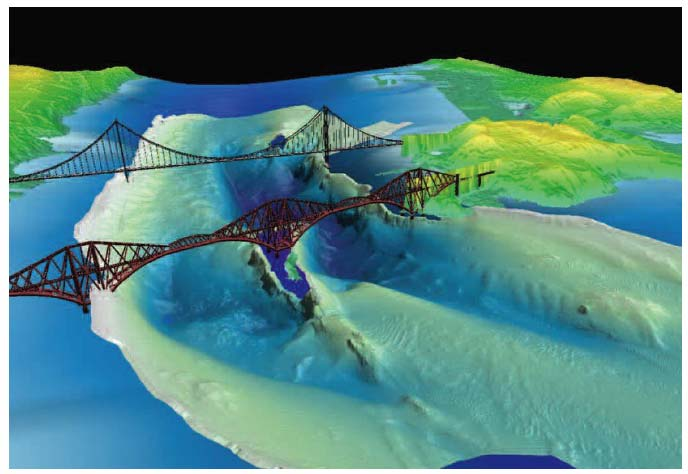 Figure 2.14 Rock outcrops used to support the Firth of Forth bridges obtained using multi-beam echo-sounders