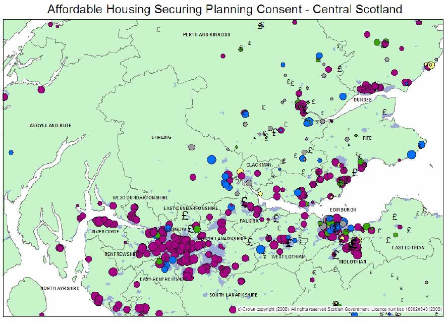 Map 3: Contribution Towards Affordable Housing - CENTRAL SCOTLAND