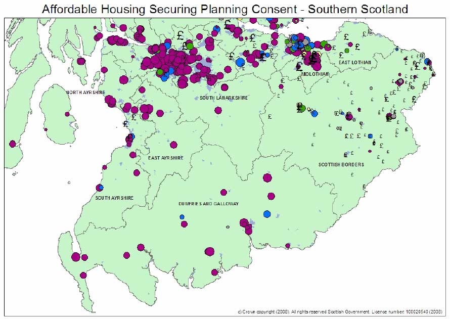 Map 4: Contribution Towards Affordable Housing - SOUTHERN SCOTLAND
