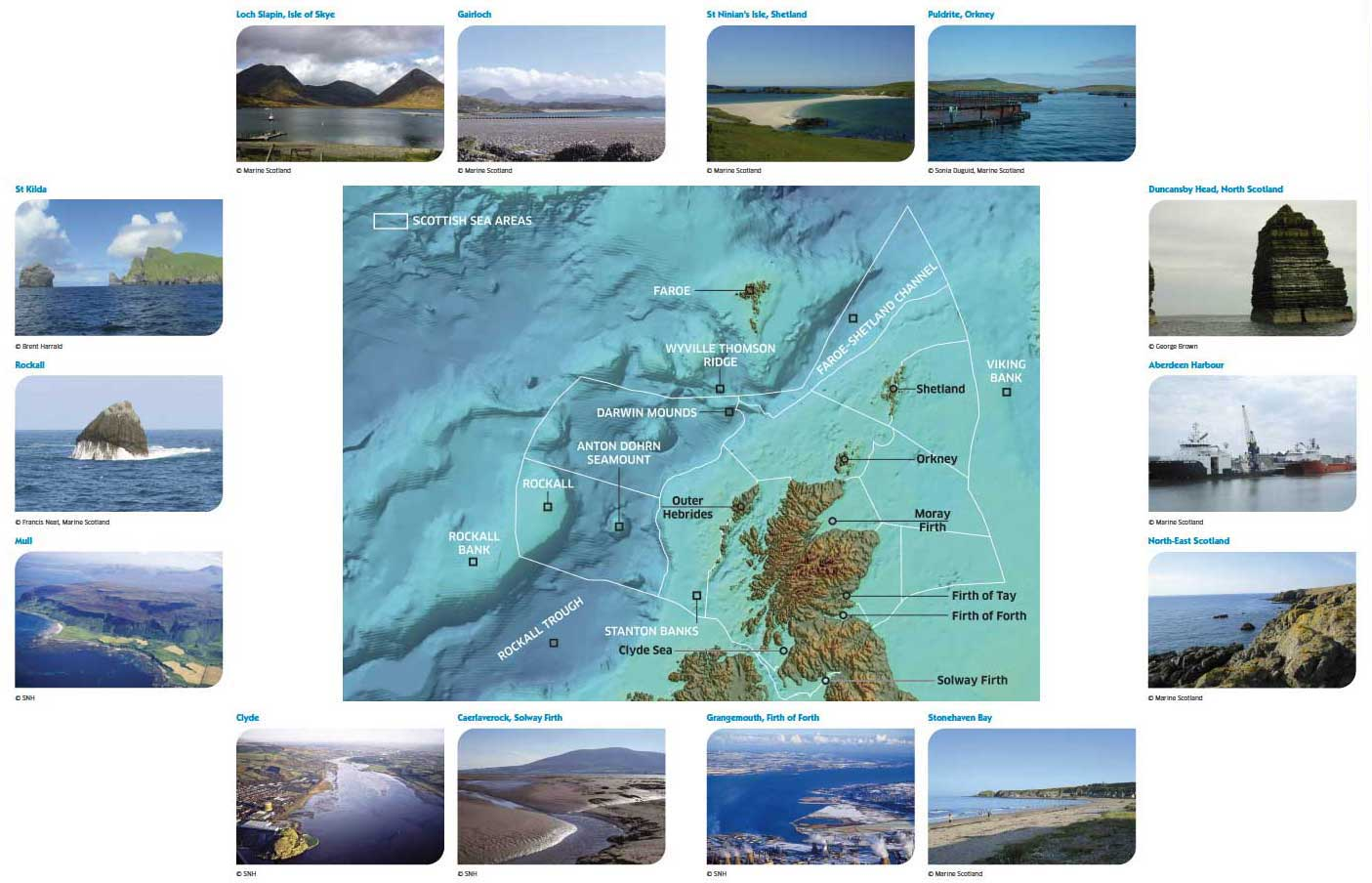 Bathymetry and selected features of the seas around Scotland