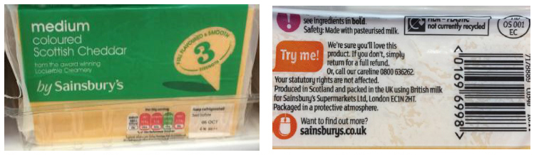 Sainsbury's Scottish Mature Coloured Cheddar - produced in Scotland and packed in the UK using British milk