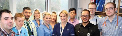 (Left to right) Dr Neil Evans, GPST – Alison Banford, Physiotherapist – Dr Rashed Bubakar, SD in Haematology – Lorna Henderson, Staff Nurse – Lauren Wismach, Staff Nurse – Jackie Nicholson, Nurse Manager – Vicki Nicoll, SCN – Dr Manjul Medhi, Locum Specialty Doctor in Infectious Diseases – Dr Avi Chowdhury, FY1 – Dr Andrew McCallum, CT3 Medicine – Dr William Beresford, FY2