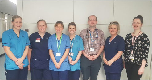 (left to right) Melony Gannon – Physiotherapist, Julie Soutar - Ward Charge Nurse, Lyndsey Watt - Discharge Hub Co-ordinator, Rachel Roberts - Occupational Therapist, Joe Cooney - Junior Doctor, Susan Scott - Discharge Hub Manager, Hazel Lloyd - Pharmacist