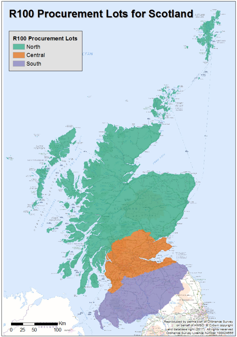 Map - R100 Procurement Lots for Scotland