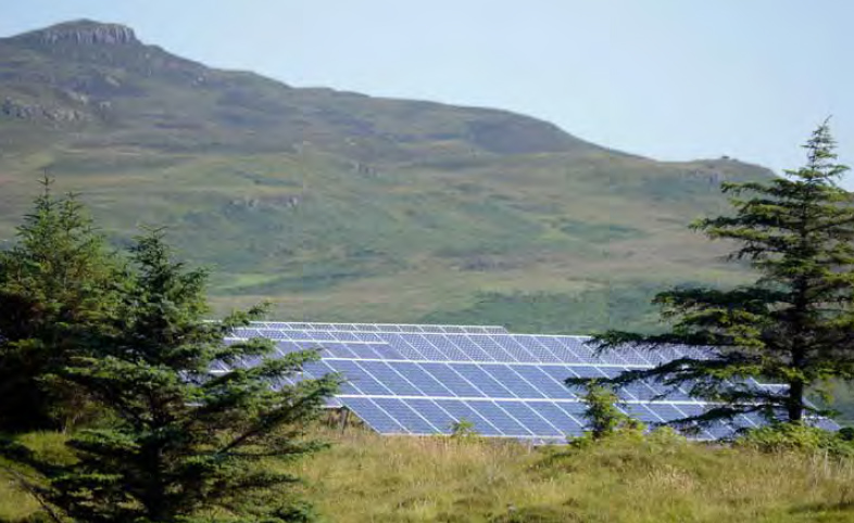 Solar PV array on the Isle of Eigg, Inner Hebrides; part of a community owned renewable electricity system on the island. (Credit: Highlands and Islands Enterprise)