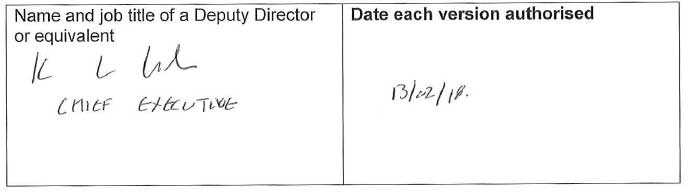 Name and job title of a Deputy Director or equivalent; Date each version authorised