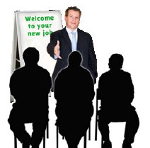 A man welcoming people to a new job.