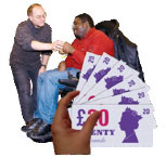 Money and a person being given social care.