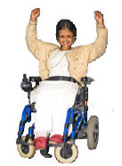 A happy person in a wheelchair