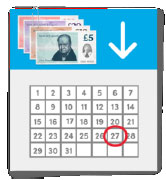 A calendar showing the date when a payment will arrive
