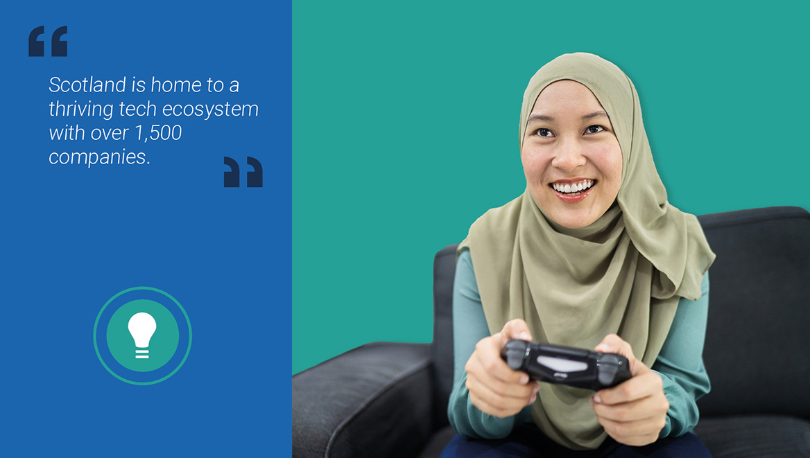 Image of a woman in a head scarf playing a computer game