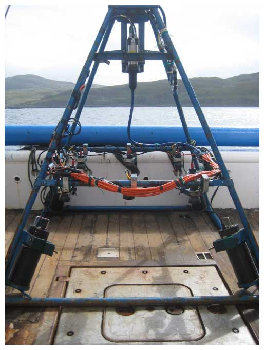 camera drop frame prior to its deployment from the aft deck of FRV Alba na Mara