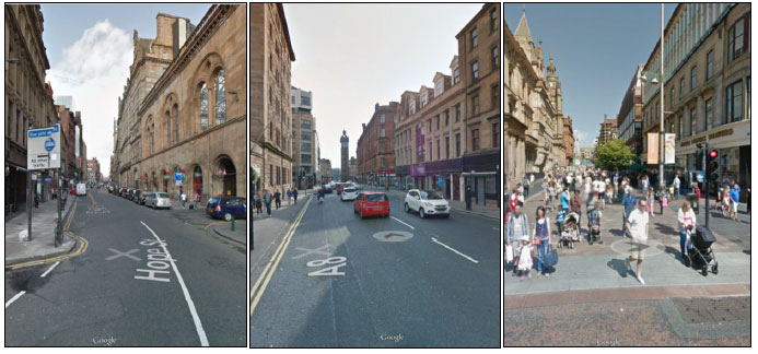 Figure 4.6 Photographs - Hope Street, High Street (A8) and Buchanan Street