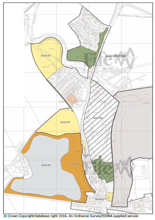 Fig. 5.1: Areas of future development in Guardbridge.